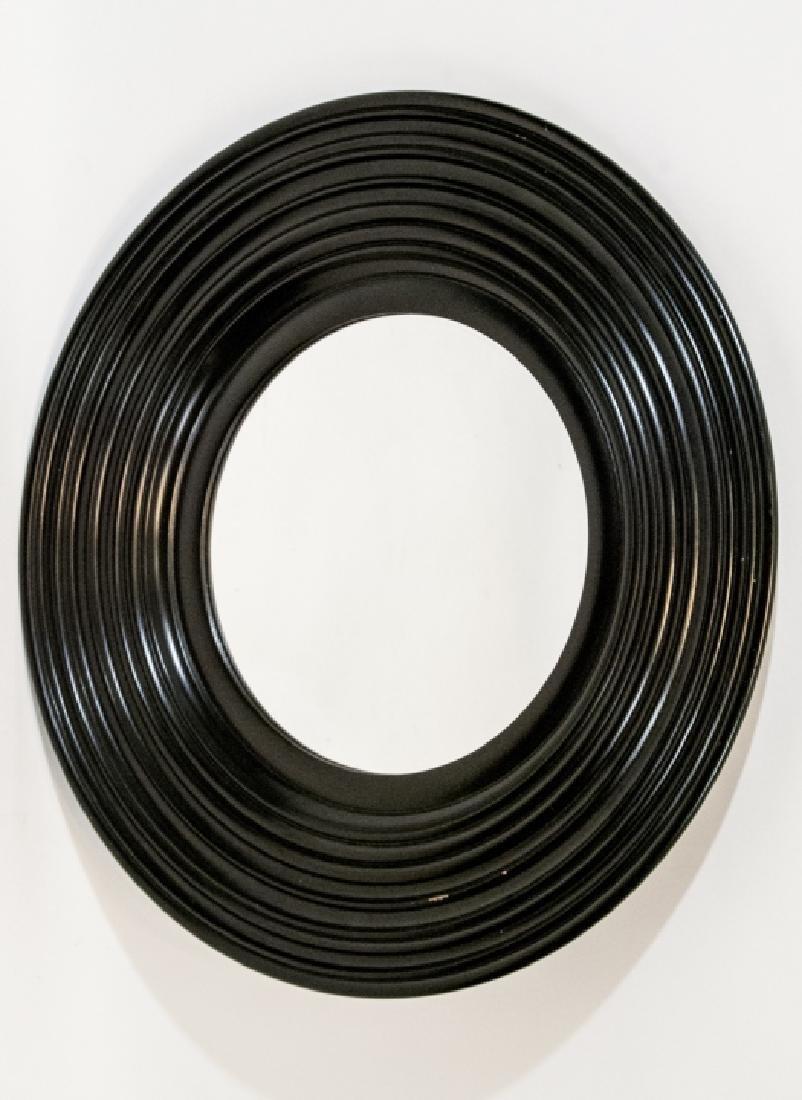 Contemporary Round Mirror Framed in Dark Wood - 3