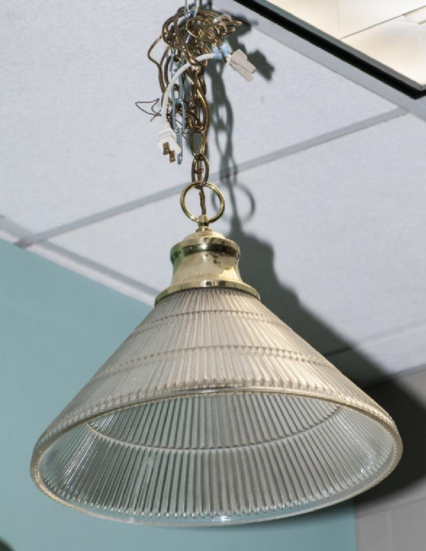 Brass & Ribbed Glass Dome Shaped Pendant Light
