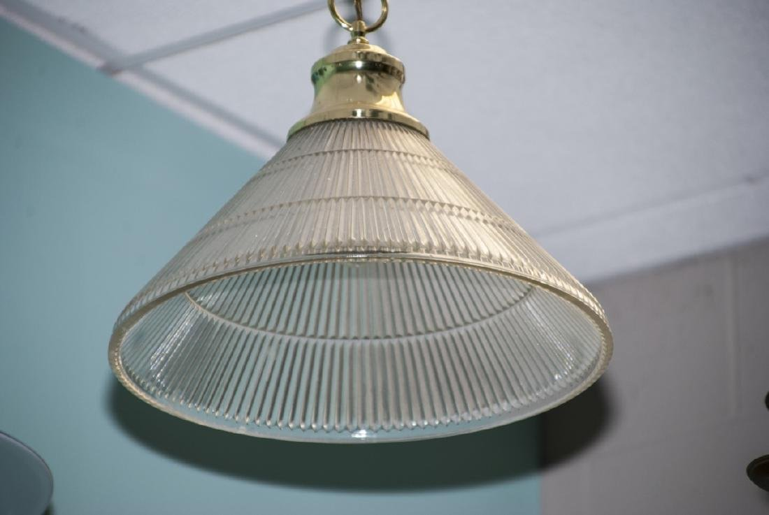 Brass & Ribbed Glass Dome Shaped Pendant Light - 2