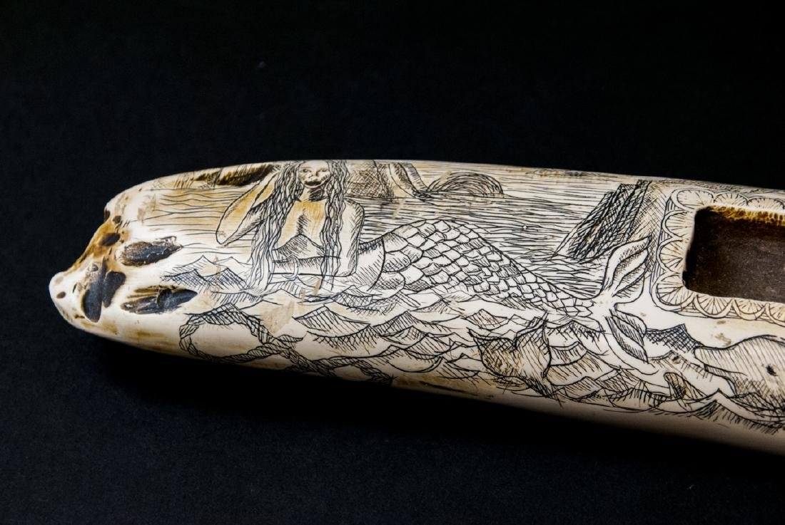 Faux Scrimshaw Carved Walrus Tusk Game Board - 4