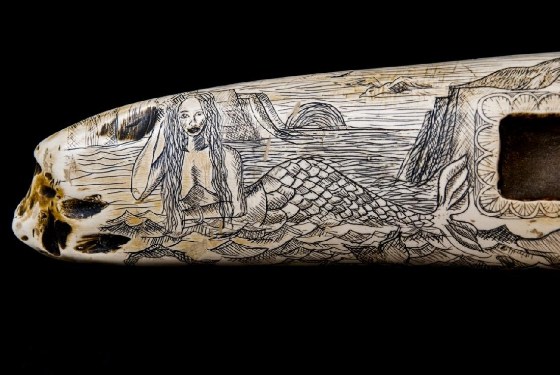 Faux Scrimshaw Carved Walrus Tusk Game Board - 6