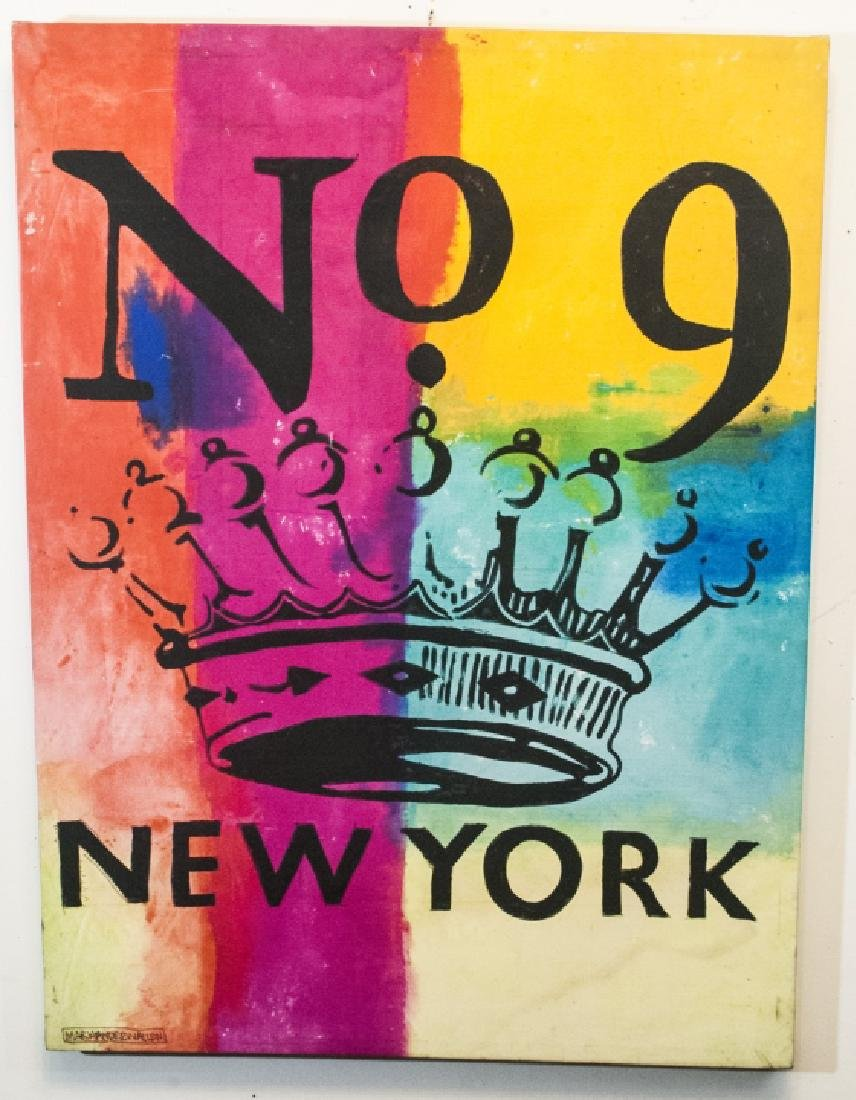Colorful Modern Art Painting with NEW YORK, Signed