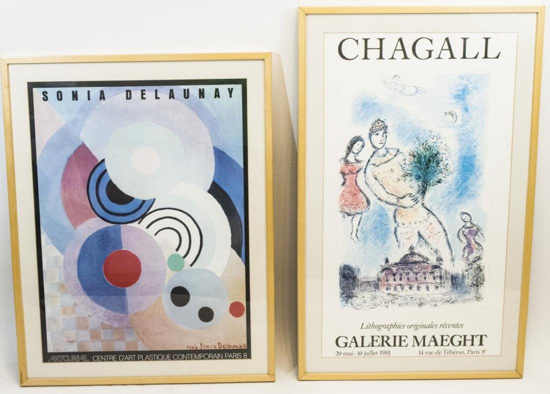 Pair Blond Wood-Framed Artist Posters Incl Chagall