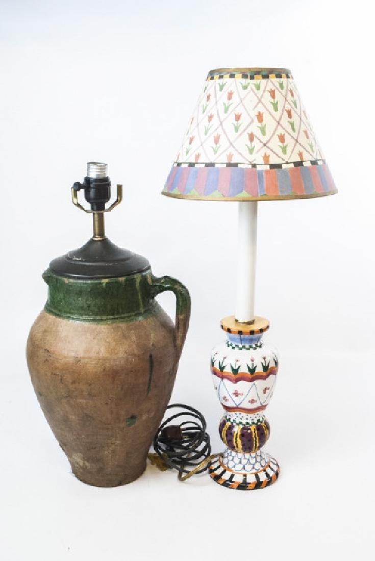 French Pottery Mount Lamp & Hand Painted Lamp