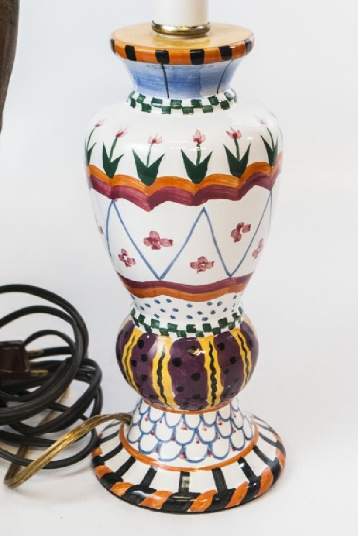 French Pottery Mount Lamp & Hand Painted Lamp - 4