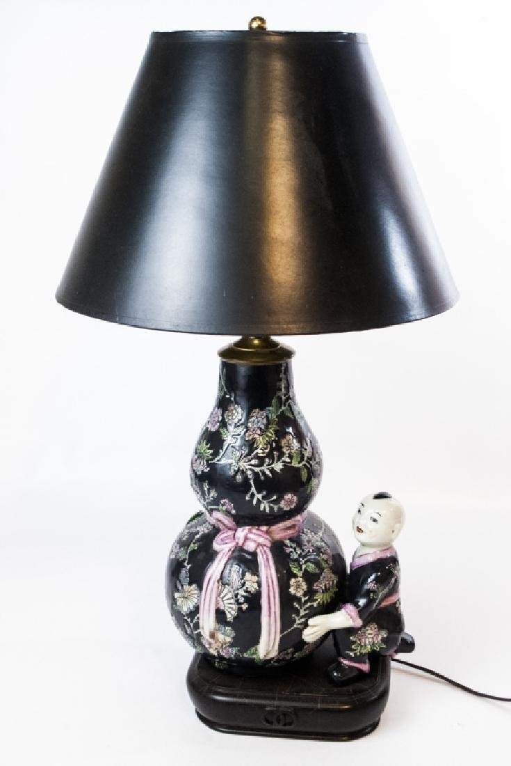 Chinese Hand Painted Porcelain Double Gourd Lamp
