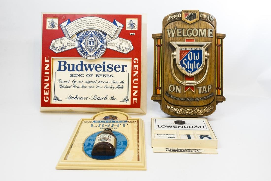 Collection Vintage Beer & Bar Signs Incl Light-Up