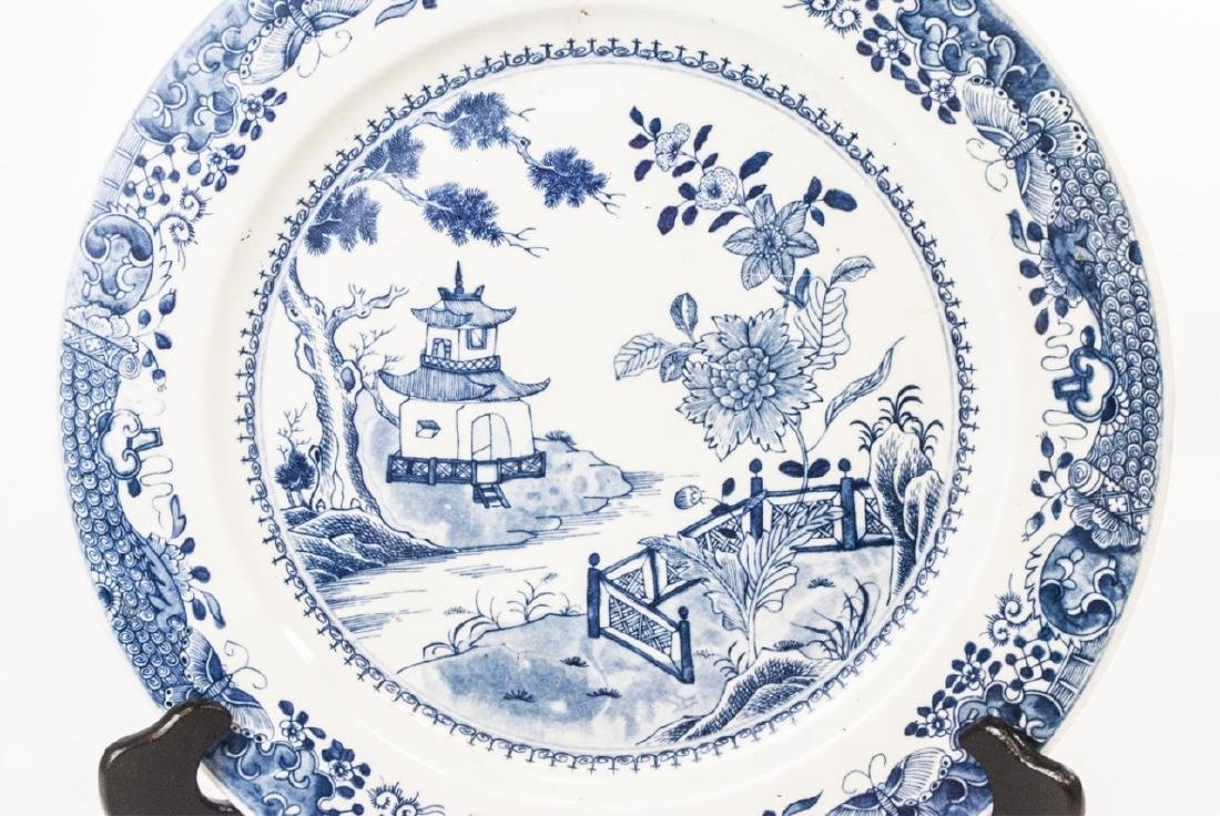 Chinese Canton Blue & White Porcelain Charger - 2