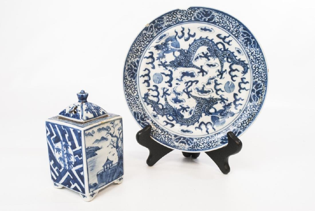 Chinese Blue & White Tea Caddy & Dragon Plate