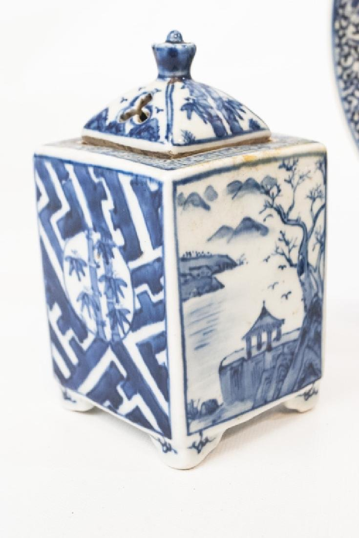 Chinese Blue & White Tea Caddy & Dragon Plate - 3
