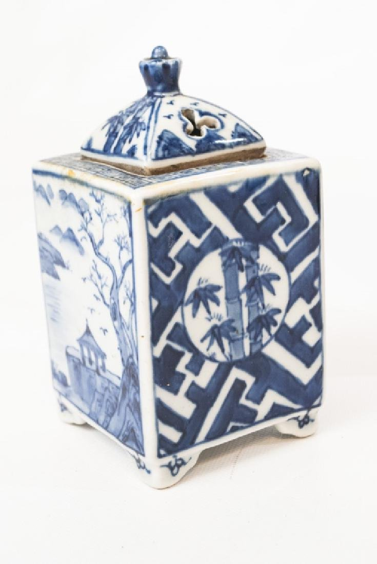 Chinese Blue & White Tea Caddy & Dragon Plate - 4