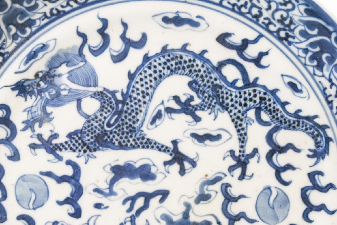 Chinese Blue & White Tea Caddy & Dragon Plate - 6