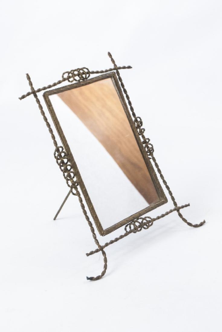 Antique 19th C Gilt Ormolu Framed Table Mirror - 3