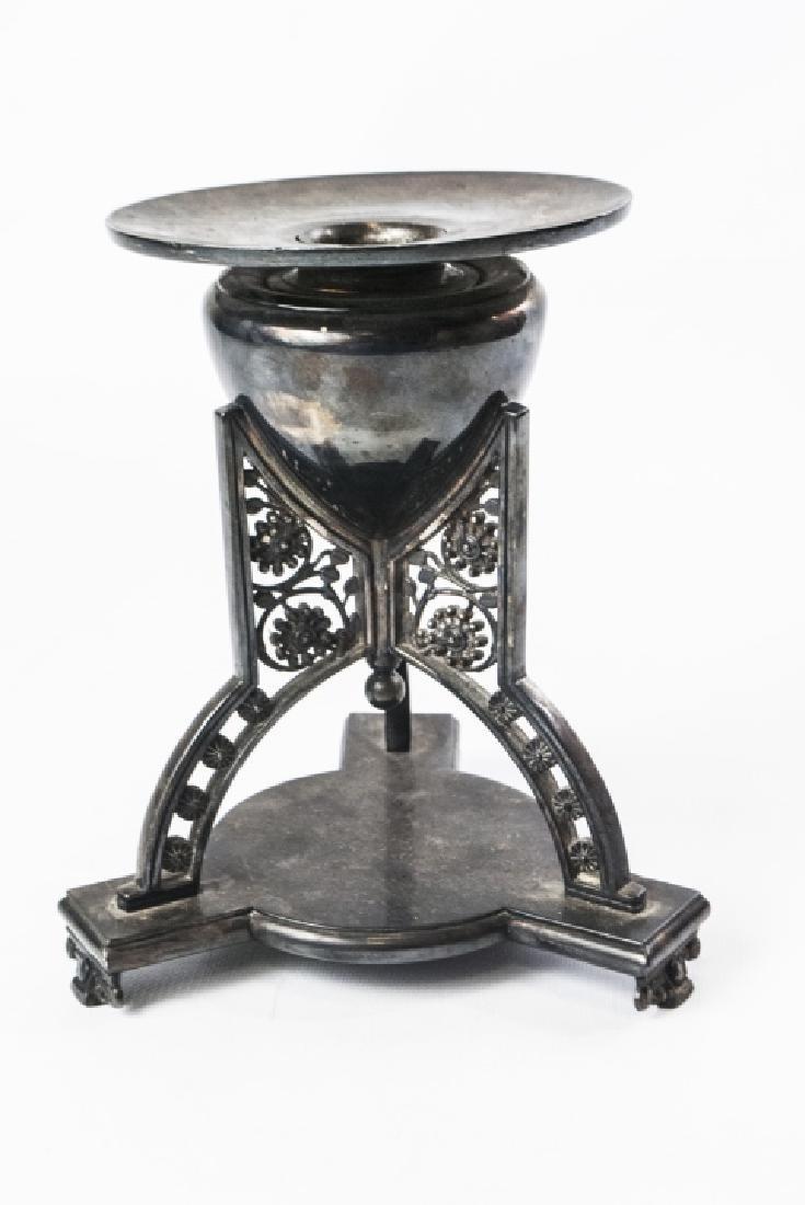 19thC S/P Tripod Base Candleholder/Vase