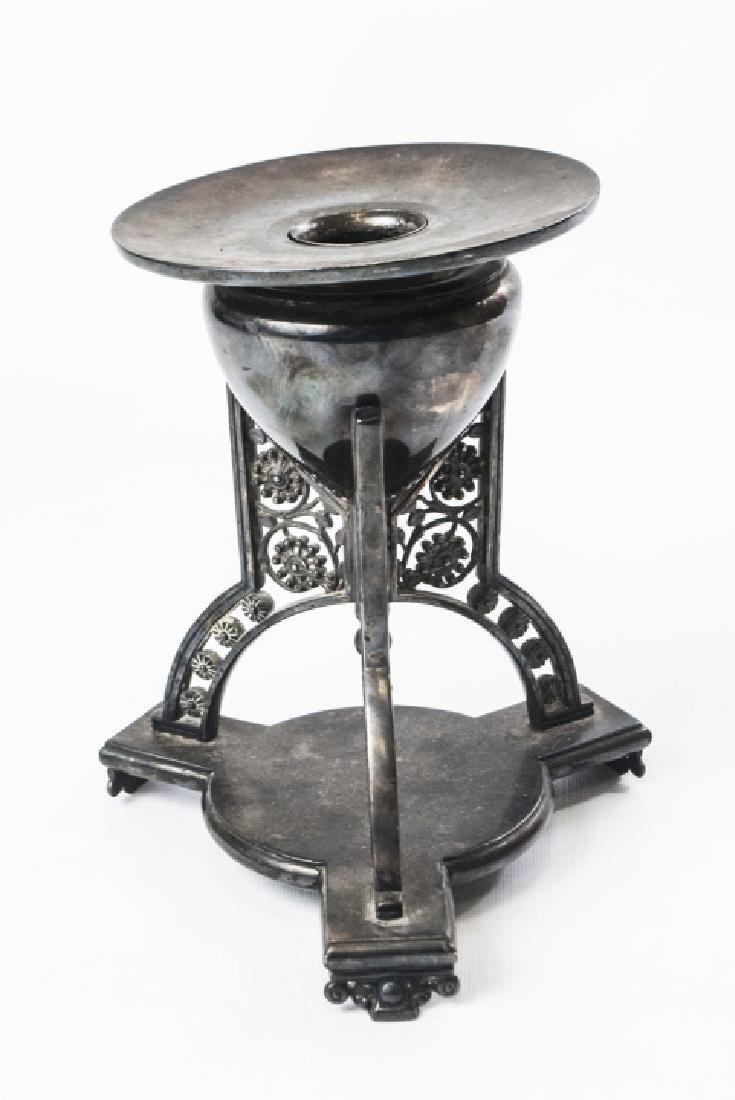 19thC S/P Tripod Base Candleholder/Vase - 2