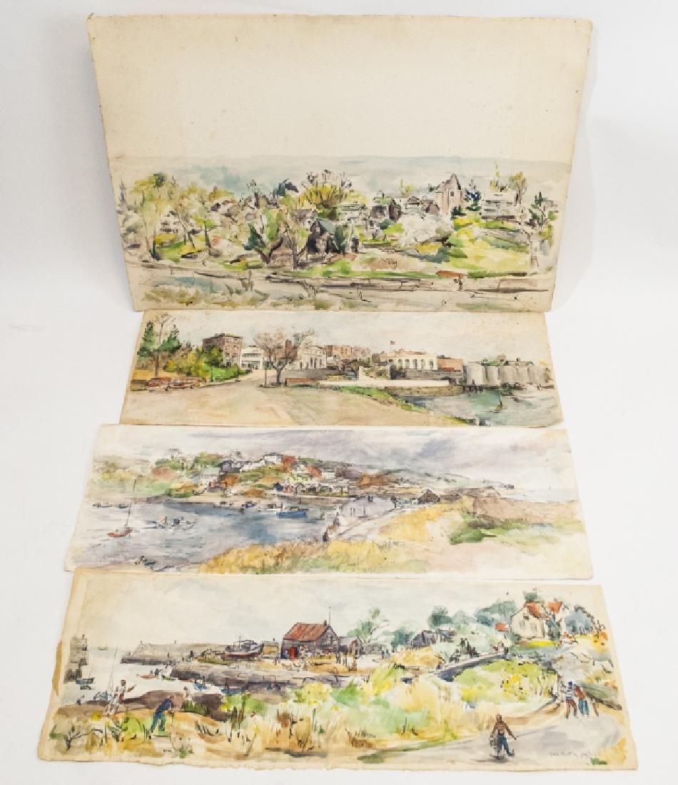 4 Oblong Orig Watercolors by Grace Huntley Pugh