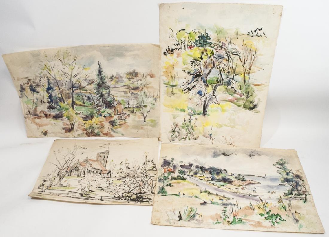 4 Orig Watercolors by Grace Huntley Pugh -1 signed
