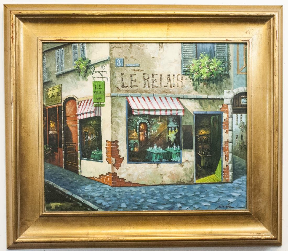Signed Bessette - Framed Painting of Le Relais