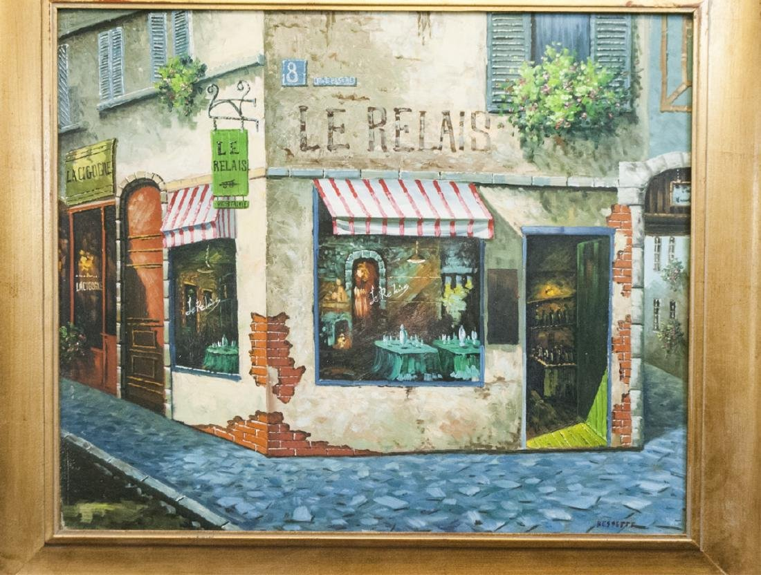 Signed Bessette - Framed Painting of Le Relais - 2