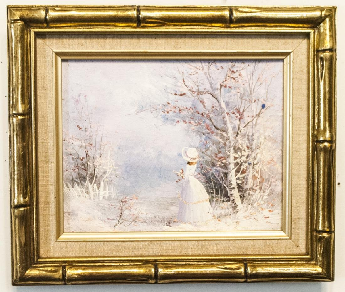 Framed Small Painting of Woman in Winter Scene