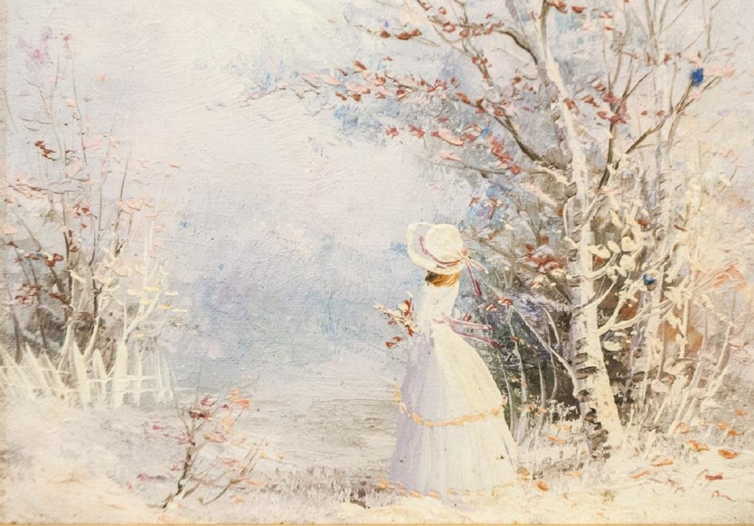 Framed Small Painting of Woman in Winter Scene - 2