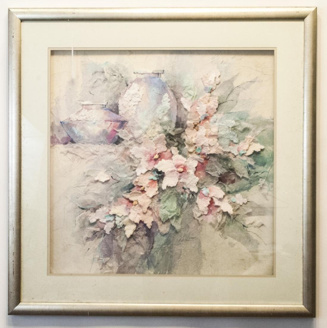 Multi Media Framed Floral Art in Shadowbox
