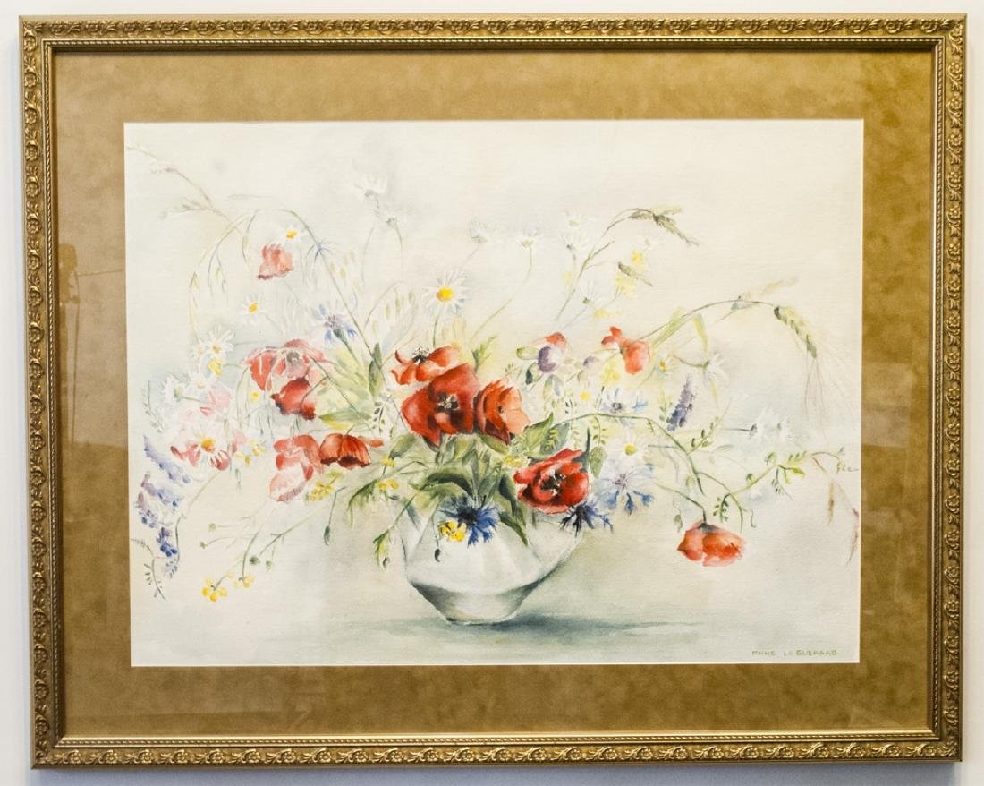 Anne Le Guerard Signed Watercolor in Frame