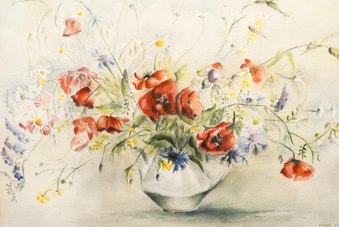 Anne Le Guerard Signed Watercolor in Frame - 2