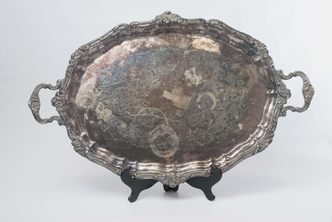 Large Gorham Silver Plate Handled & Footed Platter