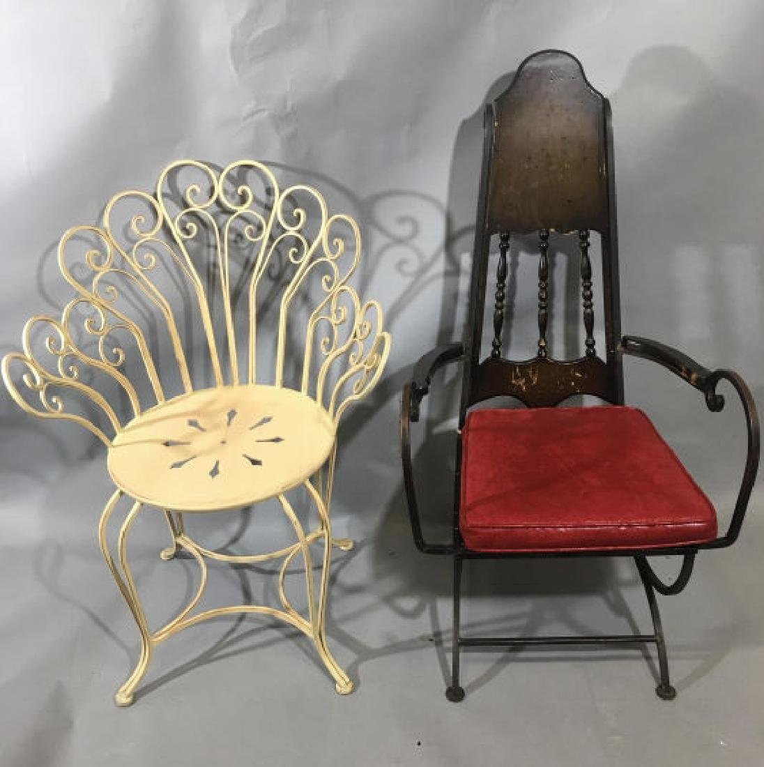 2 Antique & Vintage Style French Metal Chairs