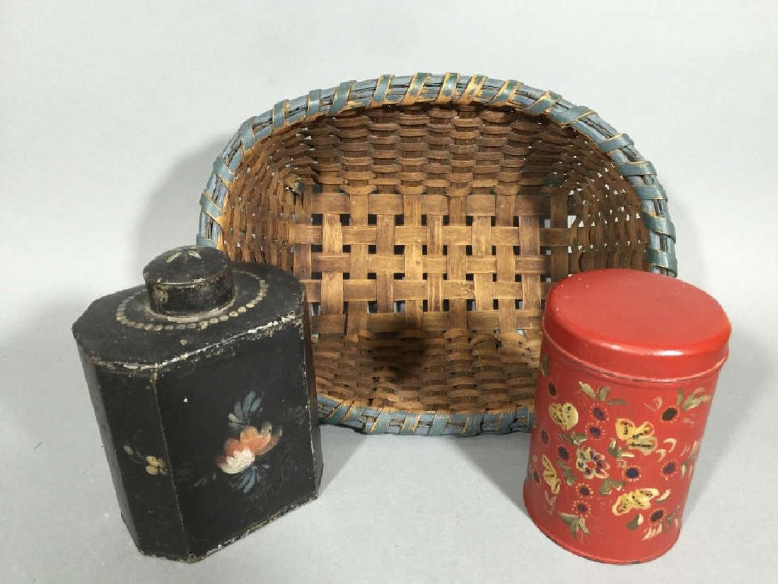 Antique Tole Metal Tea Caddies & Woven Basket