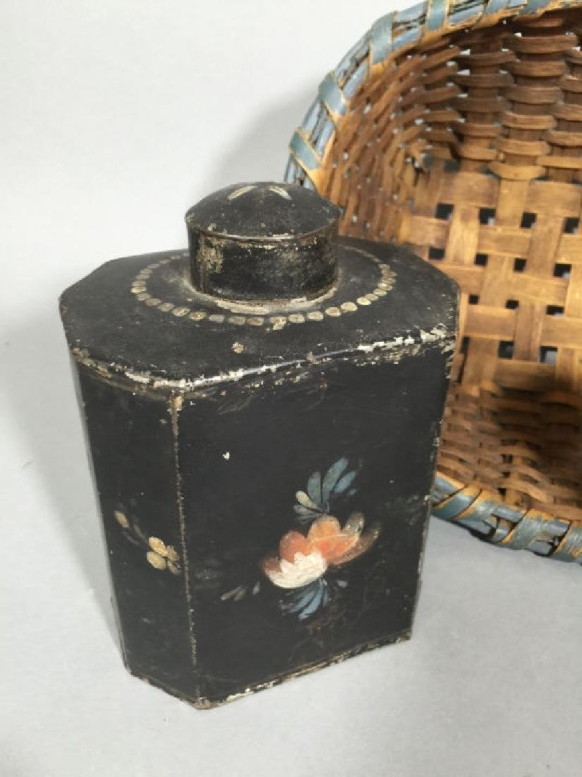 Antique Tole Metal Tea Caddies & Woven Basket - 2