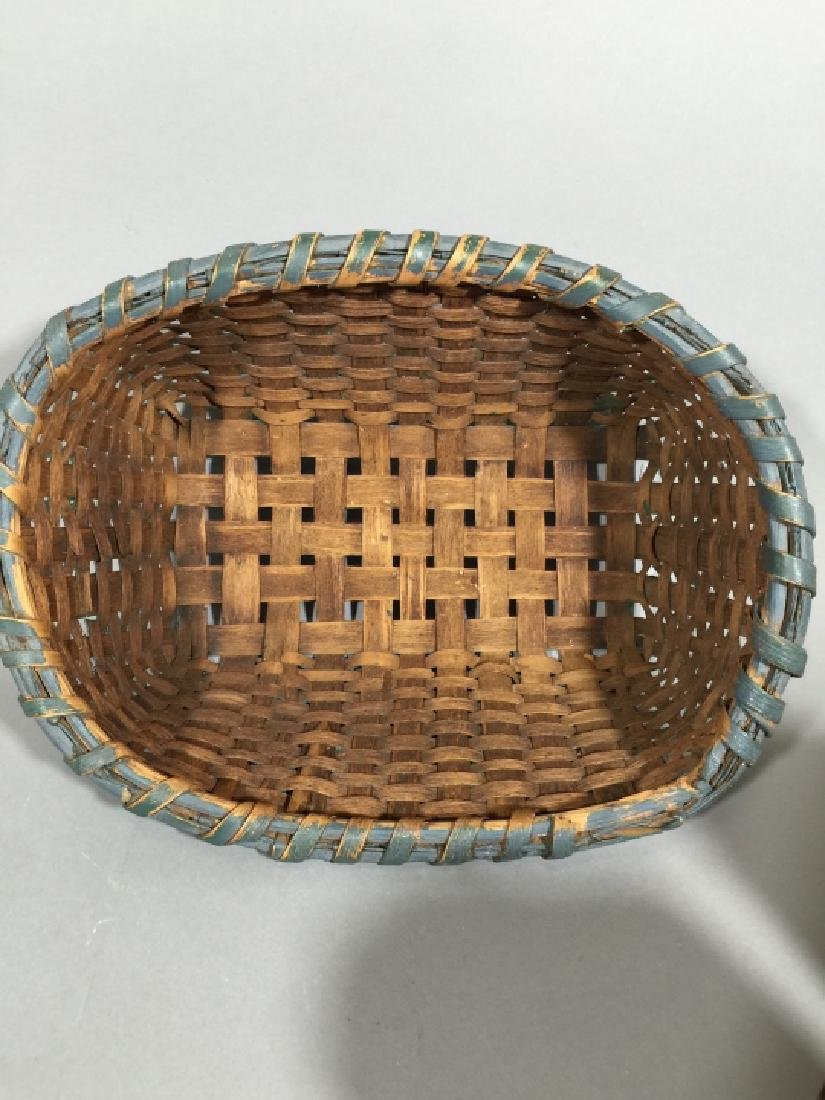 Antique Tole Metal Tea Caddies & Woven Basket - 4