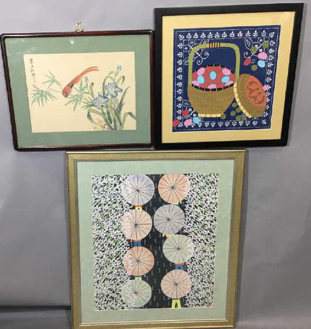 Three Framed Chinese Peasant Paintings