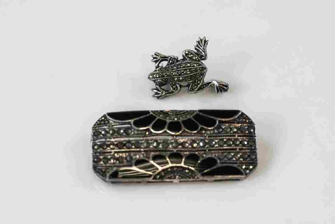 2 Vintage Sterling Silver & Marcasite Brooch Pins