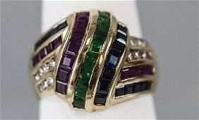 Estate 14kt Yellow Gold Diamond Emerald Ruby Ring