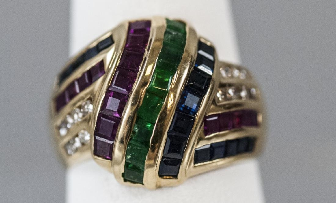 Estate 14kt Yellow Gold Diamond Emerald Ruby Ring