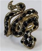 Gilt Metal  Rhinestone Snake Motif Bracelet