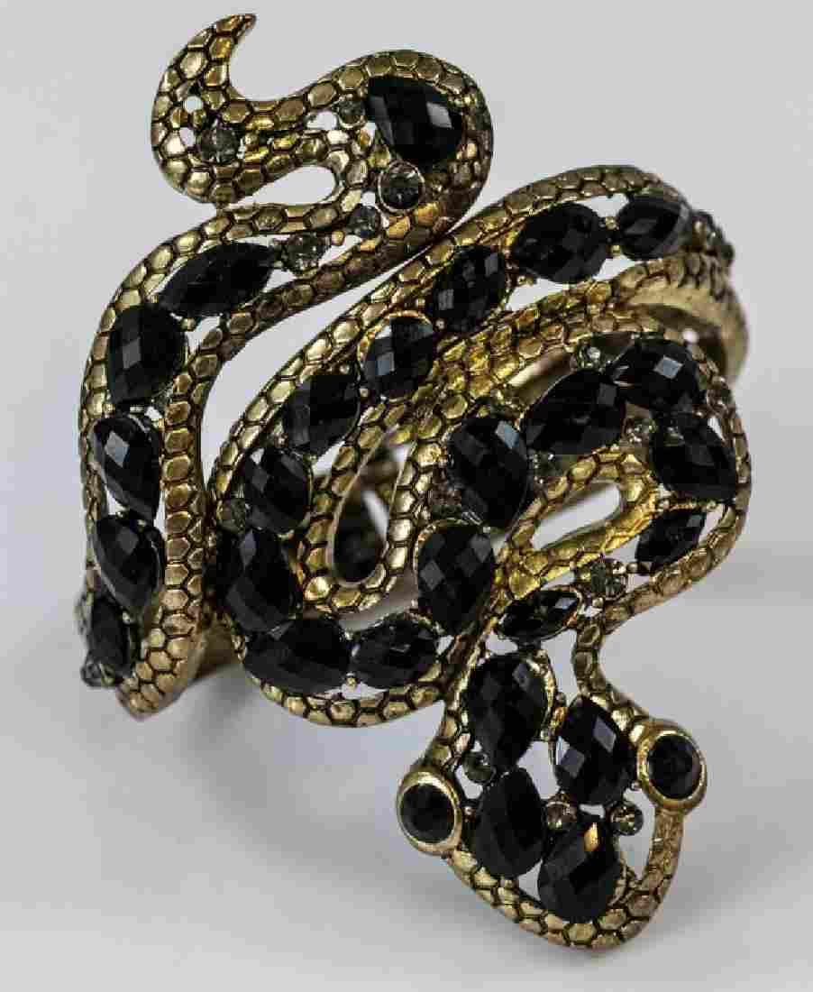 Gilt Metal & Rhinestone Snake Motif Bracelet