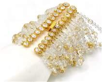 Vintage 1980s Super Wide Costume Crystal Bracelet