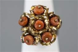 Estate 14kt Yellow Gold  Coral Floral Design Ring