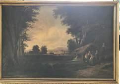 Antique 19th C Dutch Landscape Oil Painting