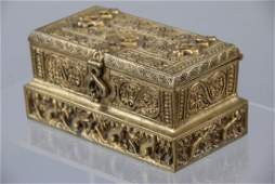 Antique Tiffany Gilt Bronze Stamp Box for Desk Set