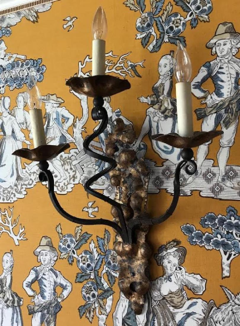 Pair of French Style Gilt Decorated Wall Sconces
