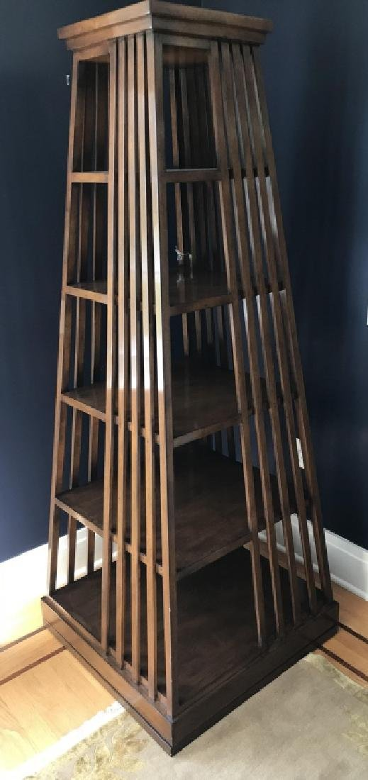 Contemporary Rotating Obelisk Form Bookcase