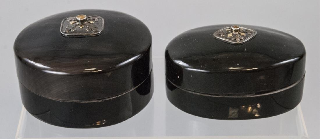 Pair Faux Tortoise Jewelry /Decorative Table Boxes