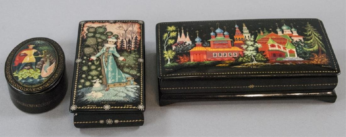 Three Hand Painted Russian Lacquer Table Boxes