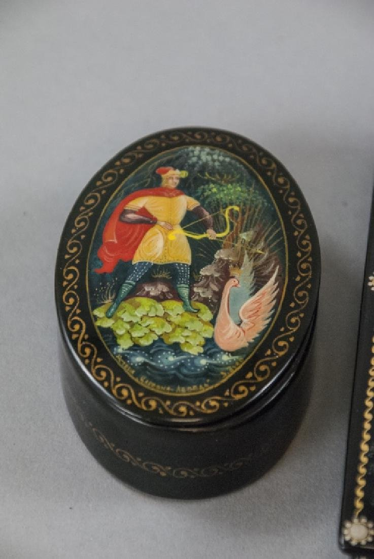 Three Hand Painted Russian Lacquer Table Boxes - 3