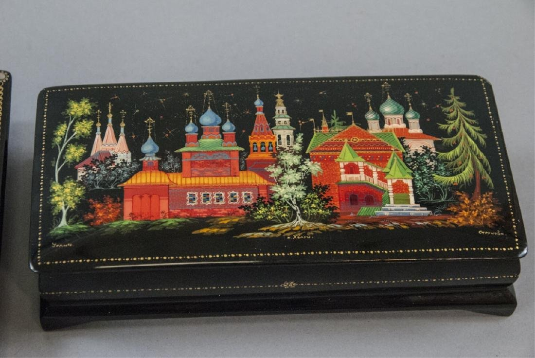 Three Hand Painted Russian Lacquer Table Boxes - 4