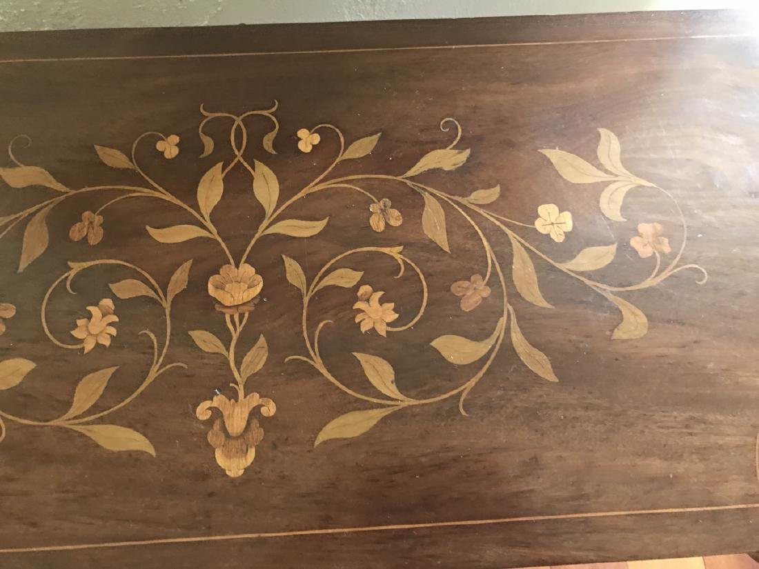 Antique Marquetry Inlaid Cabriole Leg Games Table - 4